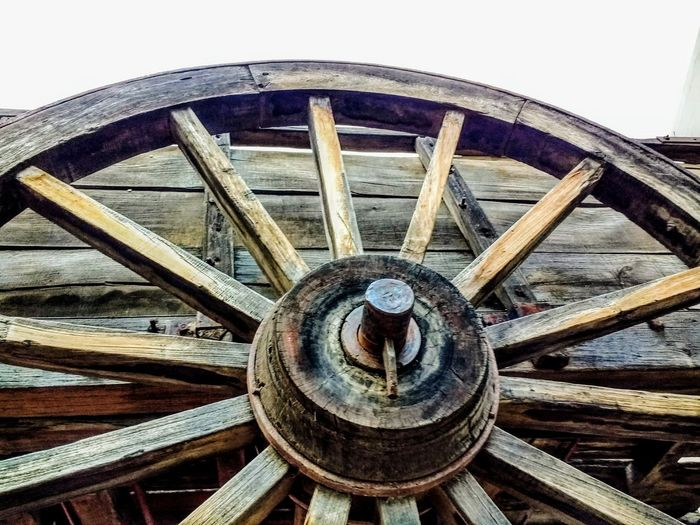 Low Angle View Wood - Material Antique Transportation Wheel Wagon Wheel Sky Spoke
