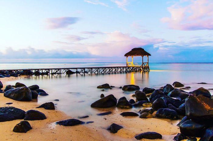Heaven Mauritius Mauritius Island  Maurice Mer Pontoon Ponton Sea Sea And Sky Clouds And Sky Rock Indian Ocean Bridge Plage Plage 🌴 Beach Seascape Landscape First Eyeem Photo