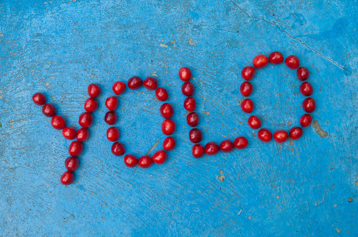 Cherries arranged to form the word YOLO on blue background Abbreviation Acronym Arranged Blue Communication Concept Conceptual L Letters Modern Motto No People O Red Talks Text Word Written Y Yolo YOLO ✌ Youth