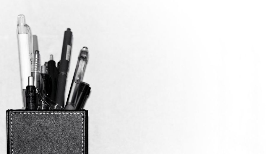 Close-Up Of Pen Against White Background