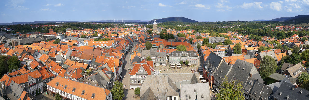 Aerial View Architecture City Cityscape From Above  Germany Goslar Harz Lower Saxony Mountain Panorama Panoramic Roof Skyline Town View