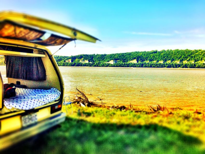 """Mississippi River On The Way On The Road EyeEm Traveling Transportation Summer Travel River The Essence Of Summer 43 Golden Moments Clear Sky River Collection Minibus Travel Photography Selective Focus Tranquil Scene Nostalgia Atmospheric Mood Traveling River Life From The Road Fine Art Photography The manifestations of my personal interpretation of """"peace."""" Green And Yellow  Colour Of Life Live For The Story Let's Go. Together. Sommergefühle Breathing Space"""