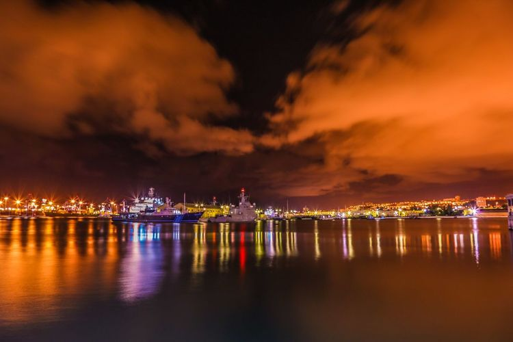 Architecture Building Exterior Built Structure City Cityscape Cloud - Sky Harbor Illuminated Nature Nautical Vessel Night No People Outdoors Pier Reflection Sea Sky Transportation Water Waterfront HUAWEI Photo Award: After Dark