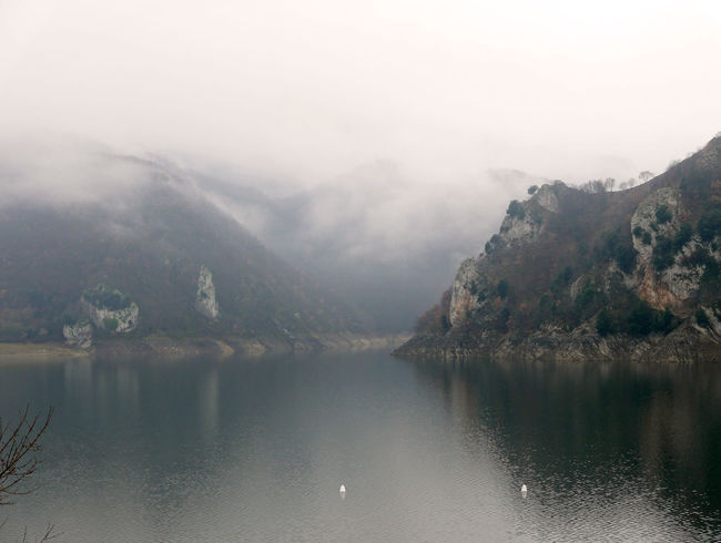 Foggy Hazy  Lago Del Turano Lake Landscape Mountain Reflection Scenics Tranquil Scene Tranquility Waterfront