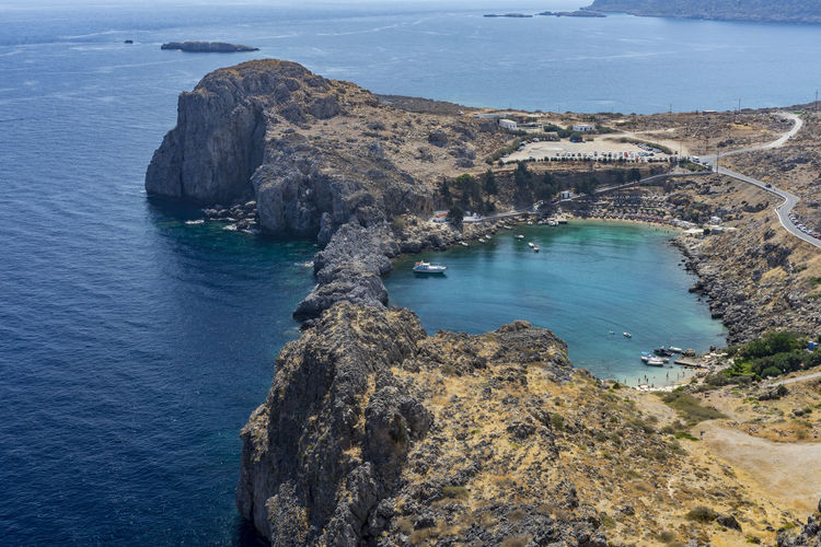 St Paul's Bay, Lindos, Rhodes, Greece Harbour St Paul's Bay Bay Beach Beauty In Nature Day Geology High Angle View Landscape Natural Harbour Nature No People Outdoors Physical Geography Rock - Object Rock Formation Scenics Sea Tranquil Scene Tranquility Travel Destinations Water