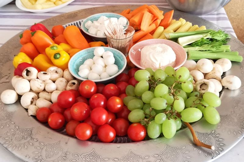 Aperitif Snack Temptation Vegetarian Food Abundance Choice Food Food And Drink Freshness Healthy Eating Indulgence Large Group Of Objects Multi Colored Plate Raw Food Ready-to-eat Still Life Table Variation Vegetable Wellbeing