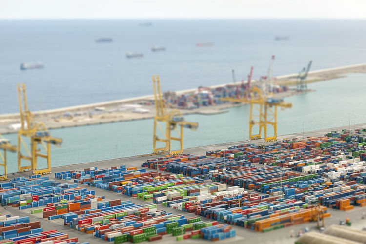 Transport shipping container Barcelona, Spain Container Container Ship Container Shipping Container Terminal Deal Harbor Industry Loa Ocean Outdoors Sea Ship Shipping  Tiltshift Trade Transportation Transportation Transportation Building - Type Of Building Water