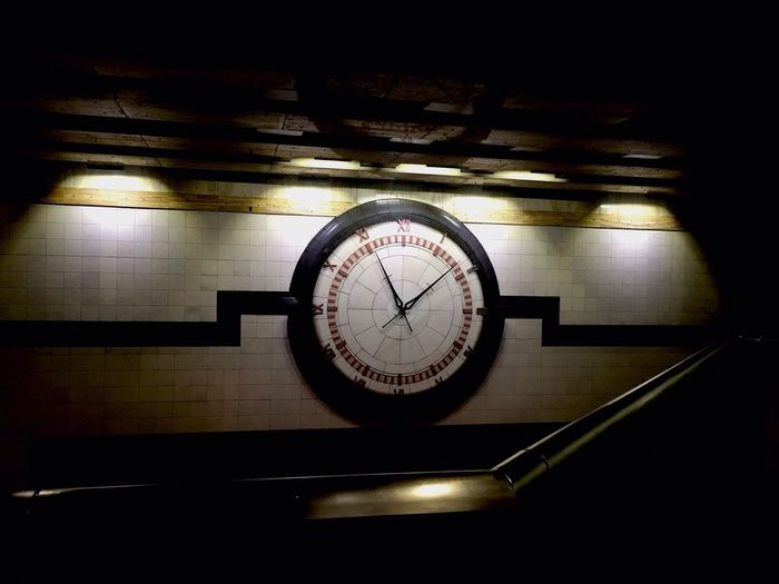 Commute time Architectural Detail Late Morning Comm Public Transportation Seattle Bus Tunnel Seattle, Washington Westlake Station, Sea Indoors  no people Pattern design Time Wall single object Shape simplicity Clock old-fashioned
