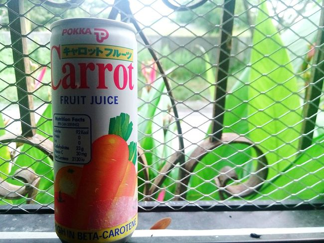 Text No People Outdoors Juice In Can Carrot Juice