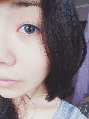 Blue Eyes Asian Girl Selfie Half Face