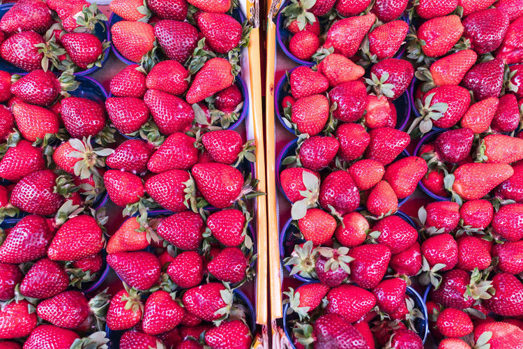 Full frame shot of strawberries at market stall