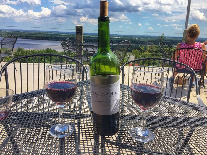 A good day Wine Red Wine Outdoors Wine Bottle Horizon Over Water Mississippi River Illinois