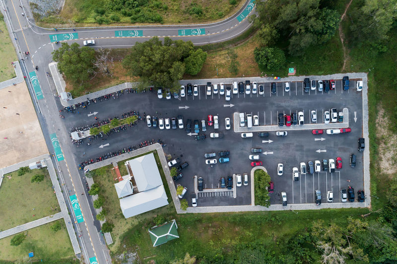 Aerial View Architecture Building Exterior Built Structure Car City Day Grass High Angle View Land Vehicle Mode Of Transportation Motor Vehicle Nature No People Outdoors Plant Road Street Transportation Tree