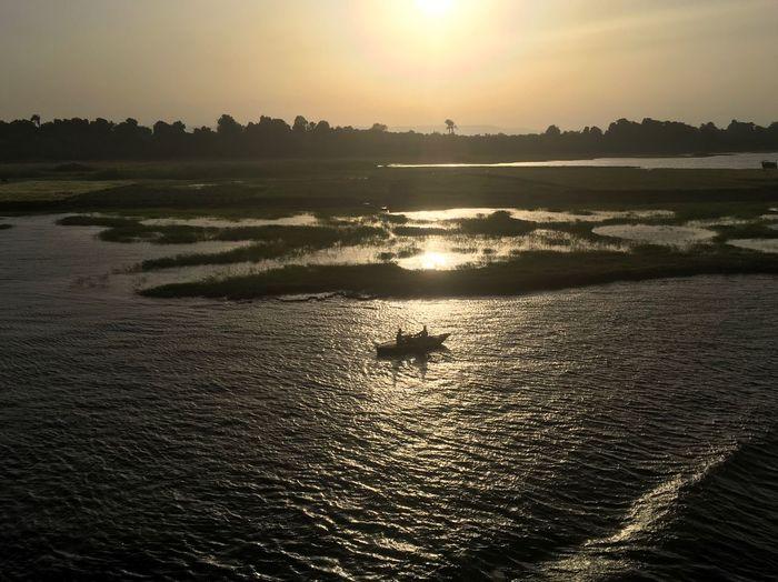 Egypt Nile River Sunset Landscape Boat Upper Egypt  Desert Yellow Water Fisherman Boat Fishermen Neighborhood Map The Great Outdoors - 2017 EyeEm Awards égypte