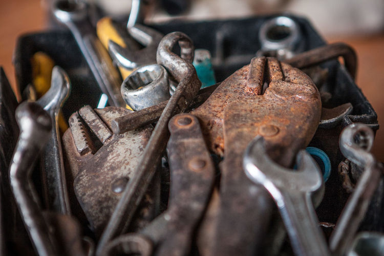 Close-up of rusty metal working tools