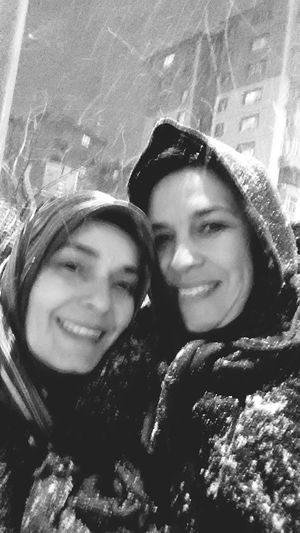 Two People Winter Togetherness Cold Temperature Looking At Camera Smiling Warm Clothing Snow Portrait Turkey Istanbul Turkey Blackandwhite Blackandwhite Photography