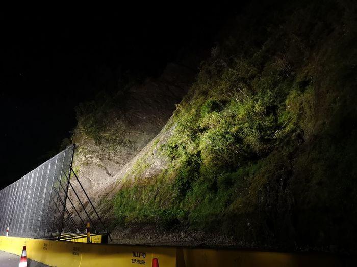 Late at night, a month after the big landslide in the Waioeka Gorge near Opotiki. Slip Landslide Roadworks NZ Newzealand Waioeka Gorge