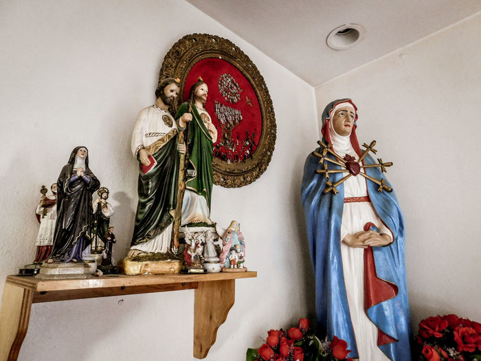 San Lorenzo, Catholic Church, Clint Texas. Saint Lorenzo is the Patron Saint of Cooks Human Representation Representation Art And Craft Male Likeness Female Likeness Sculpture Statue Indoors  Creativity Spirituality Religion No People Belief Craft Wall - Building Feature Architecture Altar