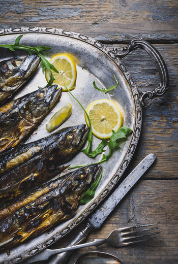 Mackerel Still Life Lemon Seafood Dinner Fish Silver  Plate Restaurant Menu Dish Cuisine Food Food And Drink Healthy Eating Tray Gastronomy Recipe Gourmet Served Dine Table Top View Vintage