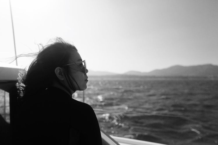 View Black And White Eyeglasses  Nature Real People Sea And Sky See Sunglasses Sunset Yacht Young Women Adventures In The City