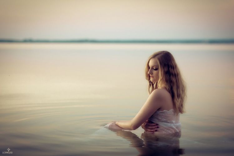 Water Sunrise Girl Silence Beauty In Nature Sensitivity