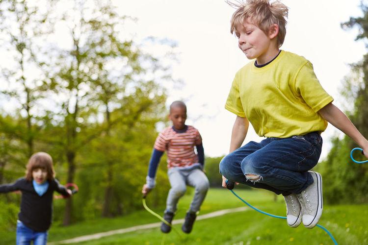 Full length of children on landscape
