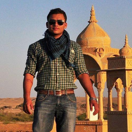 Walking in hot summer of Jaisalmer