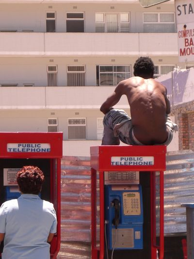 Africa African Backgrounds Black Black Man Sitting On Telephone Box Bright Sun Heat Muscles Seapoint Telephone Booth Telephone Cell Woman In Telephone Box