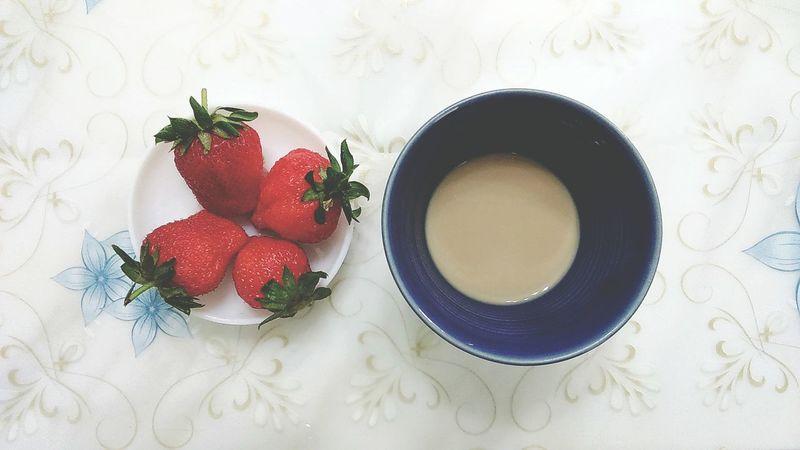 Strewberries Milk Tea Having A Lazy Day