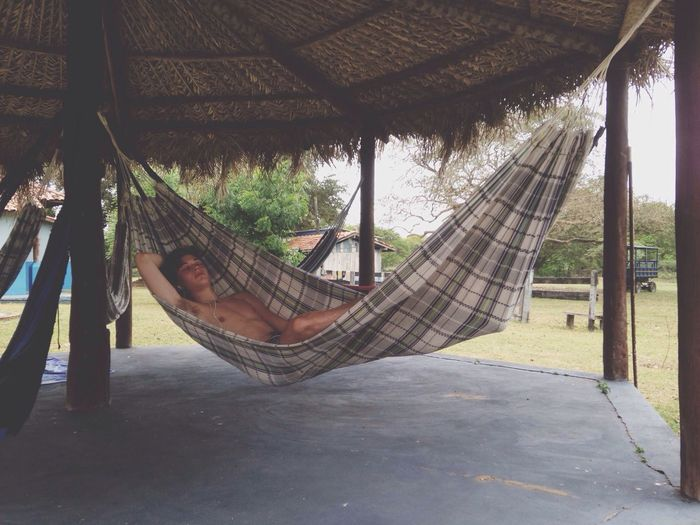 Guy Sleeping Swing Bed