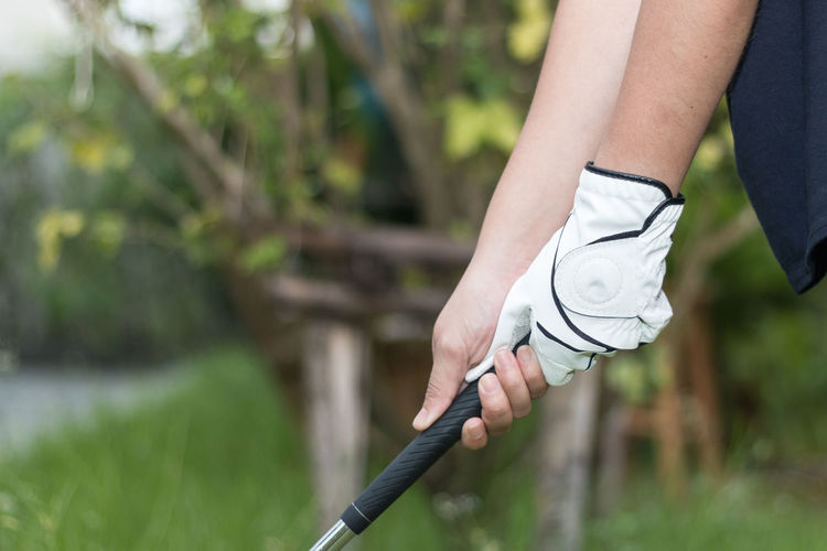 Golfer wearing