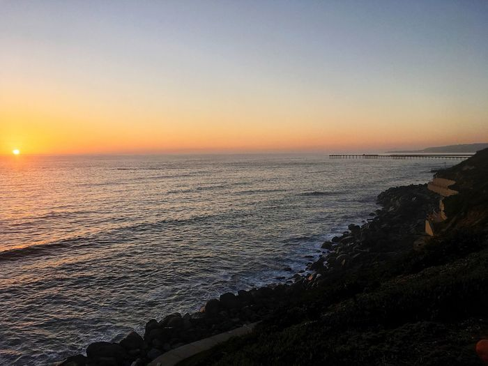 Beach side at dusk.