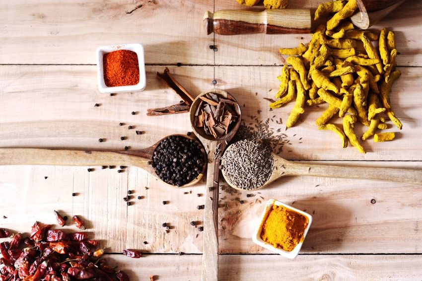 Spice Food Ingredient Table Preparation  Turmeric  Black Pepper Cinnamon Cumin