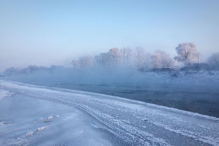 Fog and frost along the Songhua River at Wusong island near Jilin Traveling Hrb2015 Landscape Nature