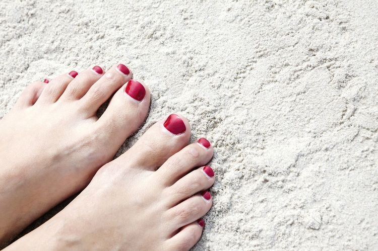 Feet Sand Beach Woman Legs Pedicures  Nailpolish Red Red Nails Sexy Young Young Woman