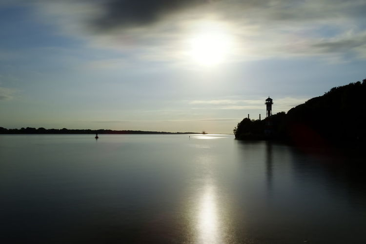 Elbe River Elbe Lighthouse Reflection Water Sunset Silhouette Scenics Nature Beauty In Nature Tranquility Lake Tranquil Scene Sky Cloud - Sky No People Outdoors Landscape Horizon Over Water Tree Day