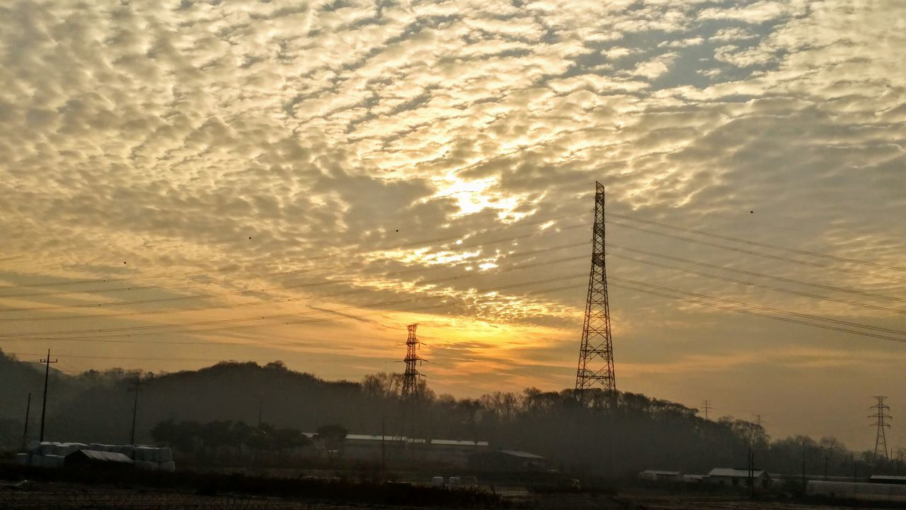 Sunrise View Astronomy Scenics Goodmorning :) Sky Cloud - Sky Silhouette Dramatic Sky No People Beauty In Nature Outdoors Electricity Pylon Nature Technology Day