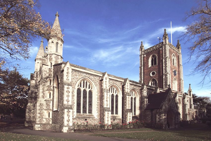 St Albans Cathedral London Sight Sightseeing St Albans Cathedral Church Blue Sky