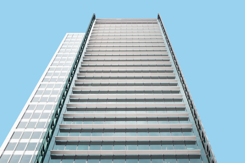 Architecture Architecture Blue Building Exterior Built Structure City City Life Clear Sky Corporate Business Day Façade Look Up Low Angle View Minimalism Modern No People Outdoors Repetition Sky Skyscraper Minimalist Architecture