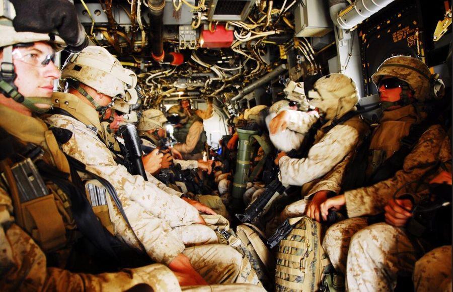 U.S Marines in a V-22 Osprey USA Us Military USMC V-22