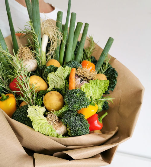 Close-up of vegetables against white background