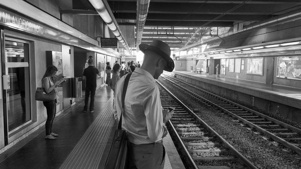 Underground cowboy | iPhone 5S ProCamera | no edit - Notes From The Underground Youmobile IPhoneography Public Transportation Blackandwhite Subway Black & White
