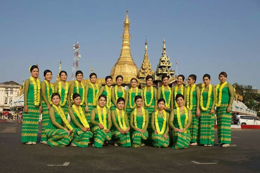 Happy People Traditional Culture Taking Photos Thingyan Water Festival Yangon, Myanmar Myanmar Dress Myanmar Girl Temple Thingyan Dancing Group Enjoying Life