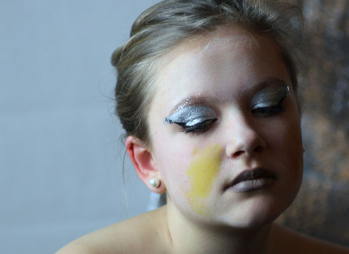 Close-up of teenage girl with face paint