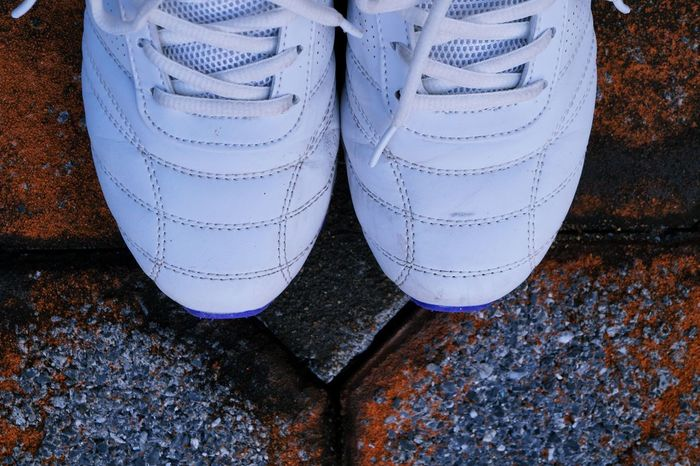 Shoes ♥ Background Backgrounds Close-up Day High Angle View Human Body Part Human Leg Low Section One Person Outdoors Pair People Real People Shoe Shoes Of The Day Sports Shoes Standing Thailand_allshots White Shoes