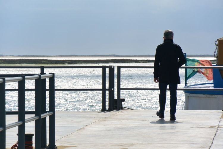 Rear View Of Man Walking On Pier Over Sea Against Clear Sky