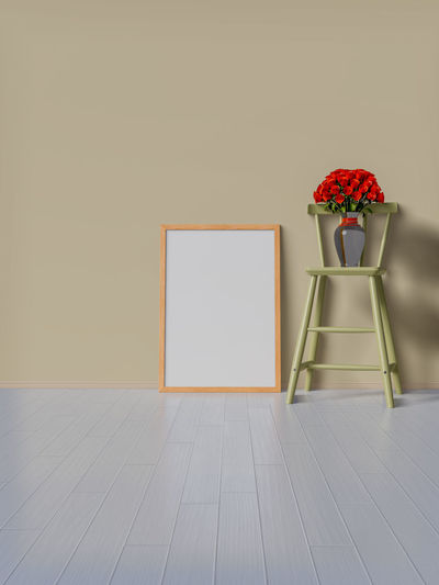 Flower Flowering Plant Copy Space Plant Indoors  Red No People Wall - Building Feature Vase Flooring Picture Frame Table Nature Empty Seat Rose - Flower Beauty In Nature Rosé Wood - Material Frame Blank Tiled Floor Flower Arrangement