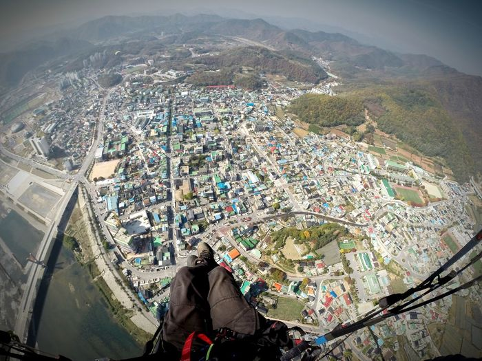 South Korea Paragliding Fun High Angle View Yong Wol Flying In The Sky Flying Flying High Fly Paragliding Paragliders Cityscapes City View  City Landscape
