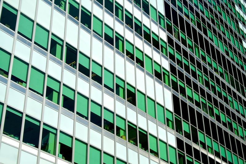 Green windows City Diagonal New York Architecture Backgrounds Building Exterior Built Structure City Day Development Full Frame Geomtry Growth Low Angle View Modern No People Outdoors Skyscraper Street Urban Window The Graphic City