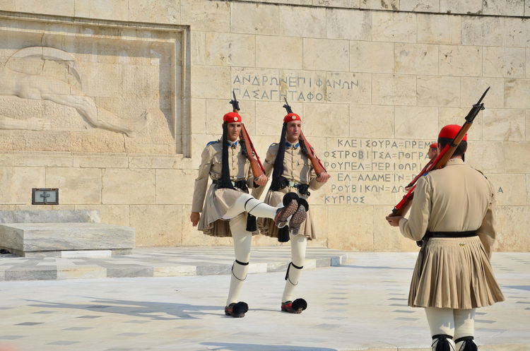 Architecture Army Soldier Athens Athens City Athens, Greece Ceremony Changing Guards Changing The Guard Culture Culture And Tradition Day Evzones Greece Greek Greek People Guard Guardian Hellenic Parliament Marching Military Uniform Paliament House Real People Tomb Of The Unknown Soldier Traditional Weapon